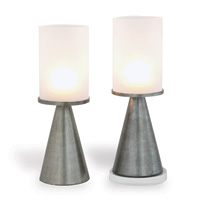 Camden Silver / Frosted Glass Candleholder (set/2)