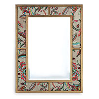 Bedford Gold Mirror W/ Sloane Fabric