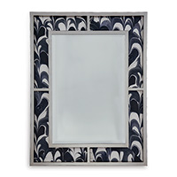 Bedford Silver Mirror / Black Orchid Fabric
