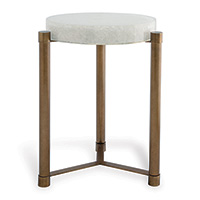 Stoneridge White / Aged Brass Accent Table