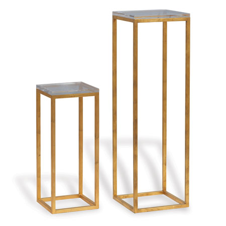 Drake Gold/lucite Pedestals (set Of 2)