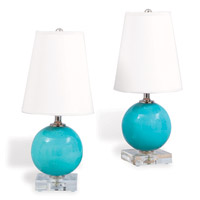 "Katie Mini Ball Lamp Turquoise (set Of 2) 16""H"
